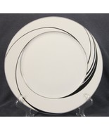 Block White Pearl Dinner Plates Spal Jewels Black Swirls Jack Prince Por... - $24.95