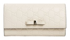 Gucci Wallet Bowie Bow White Pearl Flap GG Box Leather Guccisima Italy New - $1,499.99