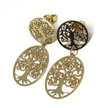 Drop Earrings Yellow Gold 750 18k, 2 Discs Cut-Out, Tree of Life image 1