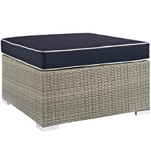Repose Outdoor Patio Upholstered Fabric Ottoman Light Gray Navy EEI-2962... - $190.00