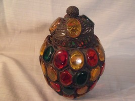 "RARE VINTAGE 60'S BERTINOS' ORIGINALS LEADED ART GLASS COVERED 9 1/2"" JAR - $148.50"