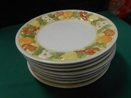 "Outstanding Handpainted VERNON WARE ""Della Robbia""by Metlox Set of 8 BREAD Plate - $22.58"