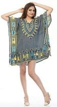 Short African Kaftan, Bohemian Beach Top, Hippie Grey Caftan Free Size Dress - $8.59