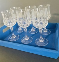 "Set Of 6 Cristal D'arques Longchamp Clear 6-1/2"" Wine Glasses Cut Crystal - $35.27"