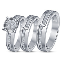 14k White Gold Finish 925 Sterling Solid Silver His & Her Diamond Trio R... - $152.99
