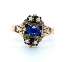10k Yellow Gold Victorian Blue Sapphire Ring with Seed Pearls (#J4971) - $544.50