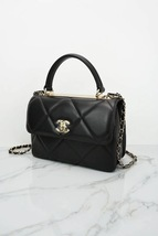 AUTH NEW CHANEL BLACK DIAMOND QUILTED LAMBSKIN TRENDY CC HANDLE FLAP BAG  image 3
