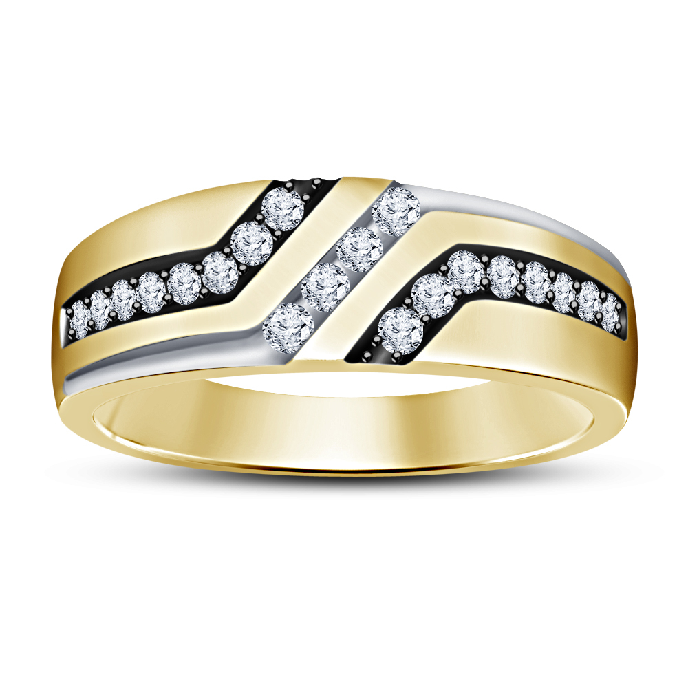 14K Yellow Gold Over Pure 925 Silver Round Cut White CZ Men's Band Wedding Ring