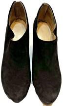 Nine West Booties Size 7.5  Womens Suede Ankle Shoe Black Back Zipper - $33.62