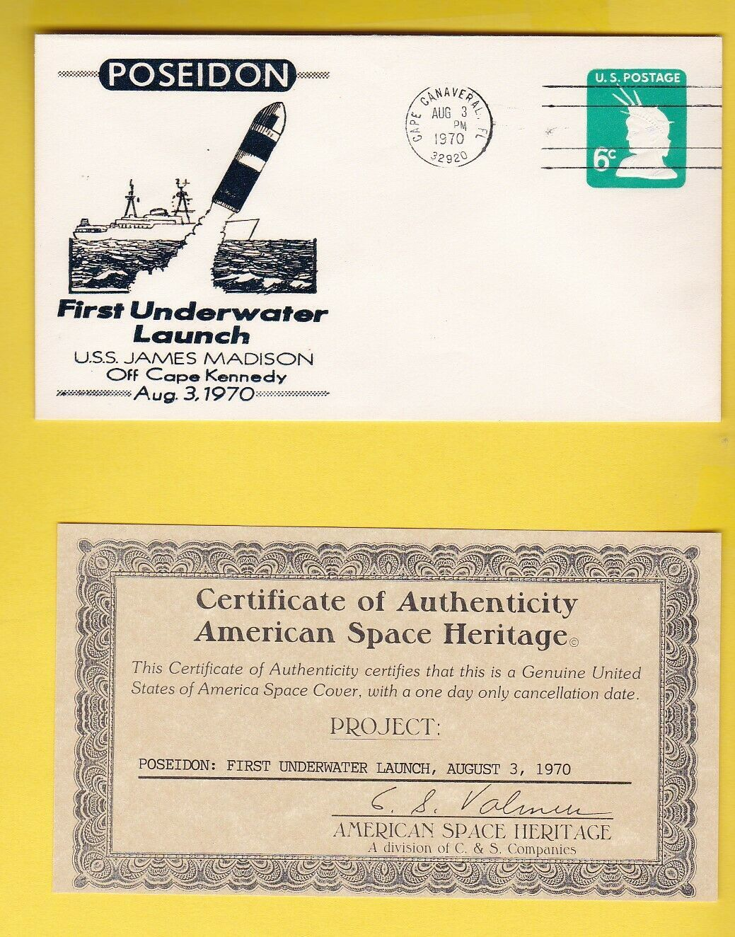 Primary image for POSEIDON 1st UNDERWATER LAUNCH CAPE CANAVERAL AMERICAN SPACE HERITAGE WITH COA