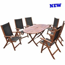 Patio Dining Set Folding Table Chair Wood Outdoor Garden Clearance Furni... - $696.40