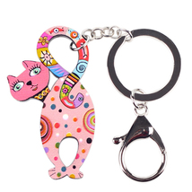 (PINK)Bonsny 2016 Newest Cat Marvel Acrylic Key Chain For Keys Women Gir... - $16.00