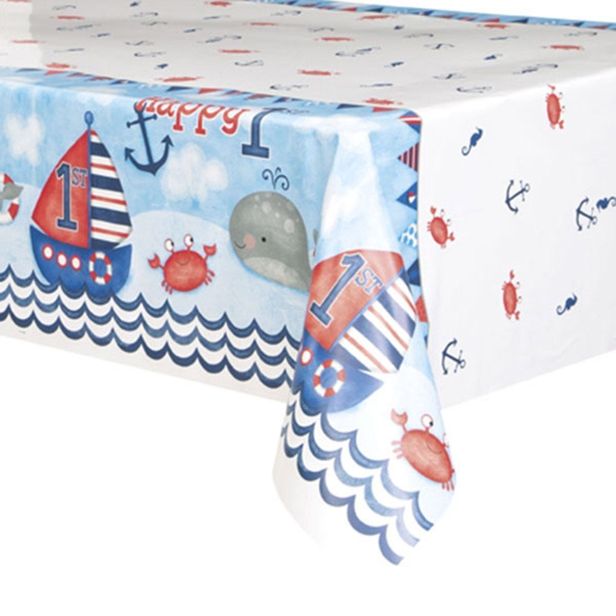 Nautical 1st Birthday Blue Tablecover 54 x 84
