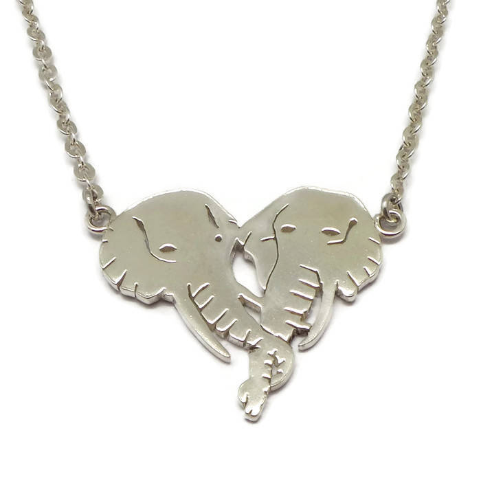 Handmade Elephant Head Heart Necklace Choker - 16'' - 24'' Chain