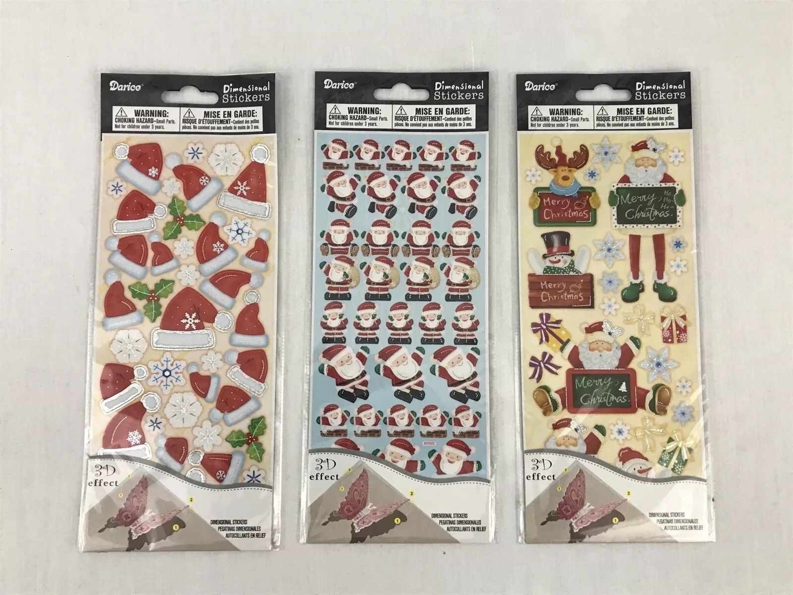 Recollections GLITTER SANTA HATS 3D Stickers NEW