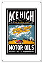 Ace High Motor Oils Reproduction Sign 12x18 - $25.74