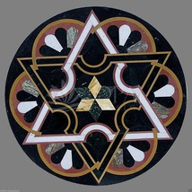 "24"" Black Marble New Design Inlaid Coffee Table Top Mosaic Home Patio De... - $1,728.73"