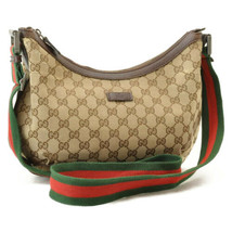 GUCCI Web Sherry Line GG Canvas Shoulder Bag Red Green Auth 9591 - $180.00