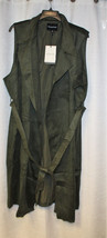 NEW WHO WHAT WEAR WOMENS PLUS SIZE 4X GREEN SUEDE SLEEVELESS TRENCH COAT... - $29.02