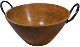 Pfaltzgraff Wood Bowl With Metal Handles - £43.01 GBP