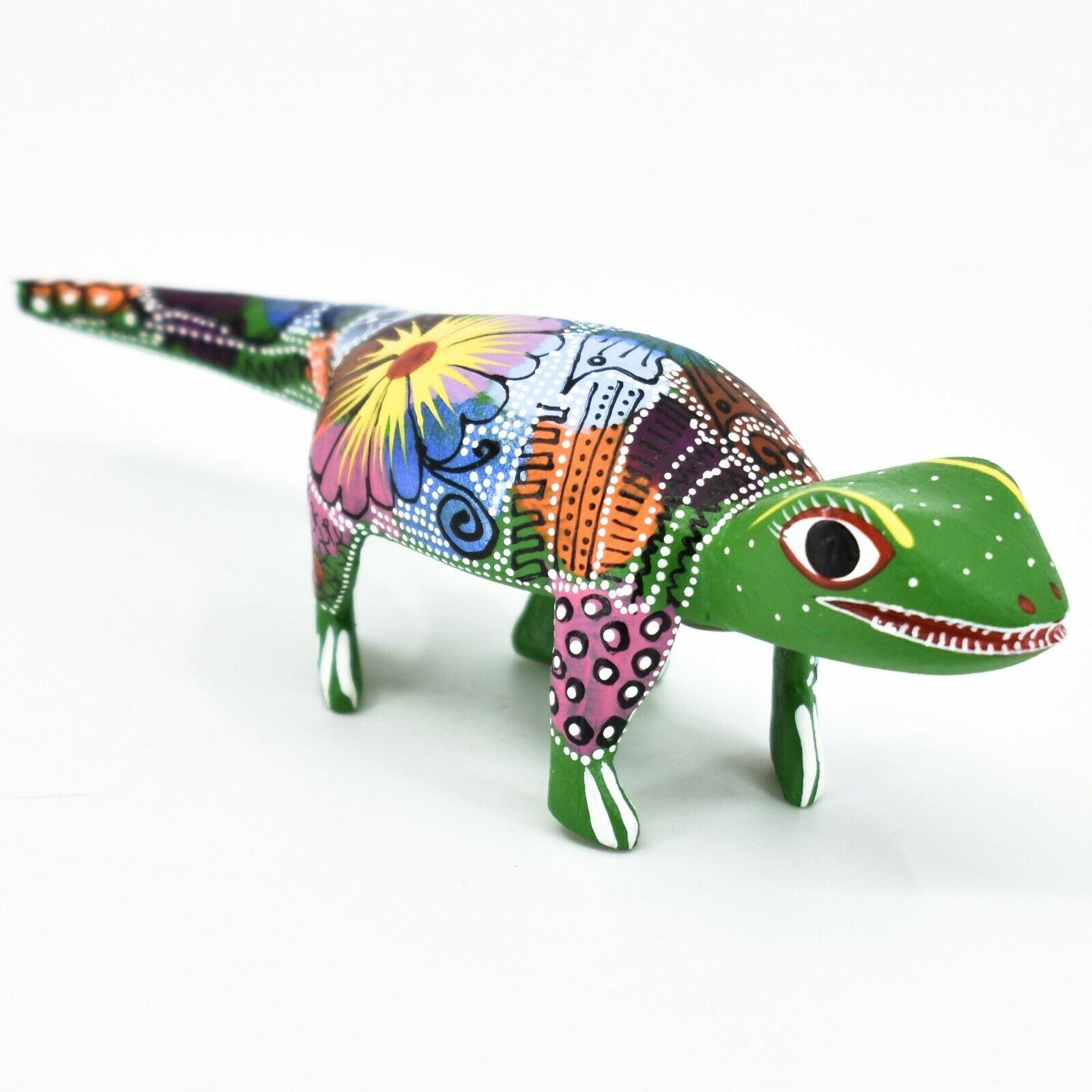 Handmade Alebrijes Oaxacan Wood Carving Painted Folk Art Alligator Figurine