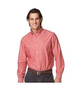 New Chaps Men Chambray Long Sleeves Button-Down Shirt Forge Red Size S - $39.19