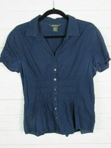 Eddie Bauer Womens Short Sleeve Blue Fitted Button Up Blouse Size L W960 - $11.99