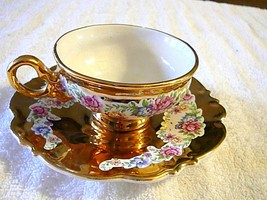 Limoges Footed Cup & Saucer 1920 Bright Gold & Floral. Pink & Green Flowers - $14.01