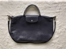 Longchamp Le Pliage Cuir Top Handle Hand Bag Medium Size Navy Blue Auth - $430.00