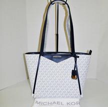 Michael Kors Whitney Signature Small Zip Top Tote Navy/White