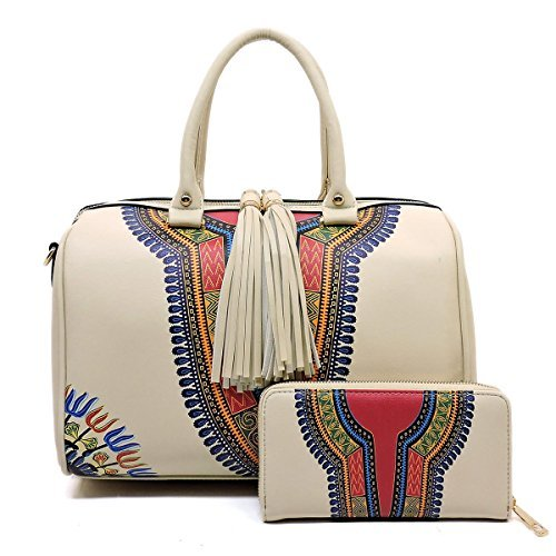 Handbag Republic Boho Print, Large Boston Satchel w/Strap + Wallet (Beige)