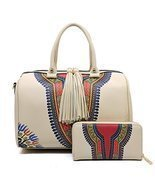 Handbag Republic Boho Print, Large Boston Satchel w/Strap + Wallet (Beige) - €54,34 EUR