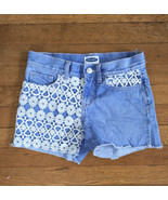 * old navy white crochet lace on blue jean shorts denim size 10 regular ... - $6.44