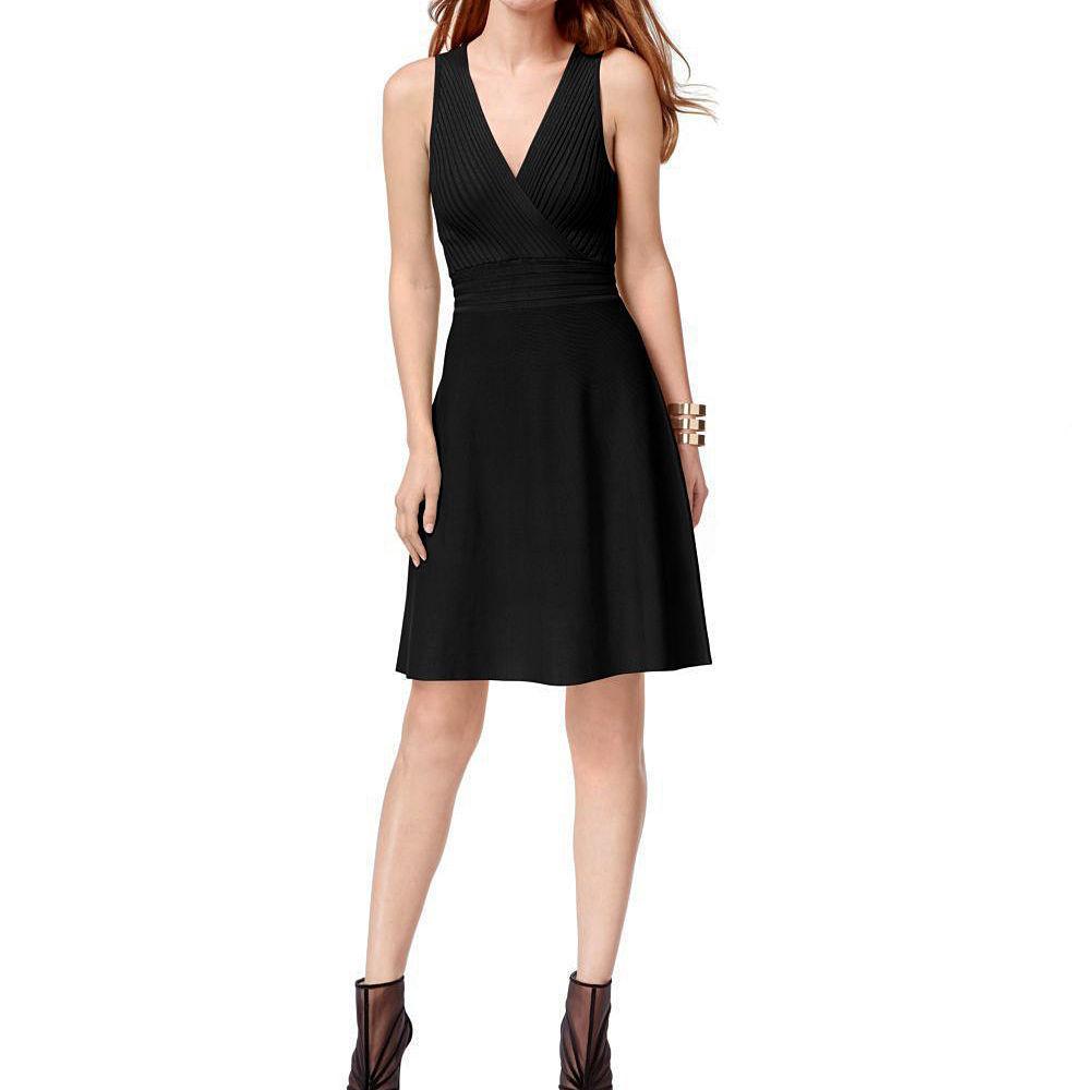 INC International Concepts Sleeveless Deep Black Knit Sweater Nightfall Dress M
