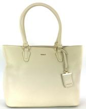 DKNY Donna Karan Shopper Tote Bag Sand Dollar Cream Leather Large Handbag - $237.96