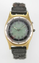 Fossil Watch Mens Stainless Silver Gold Light Date Black Leather Green Q... - $33.46