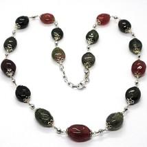 Halskette Silber 925, Turmaline Ovale, Grün und Rot, Kugel Facettiert image 1