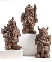 """17"""" Cement Viking Medieval Gnome Design Garden Figurine  - 3 Assorted Designs"""