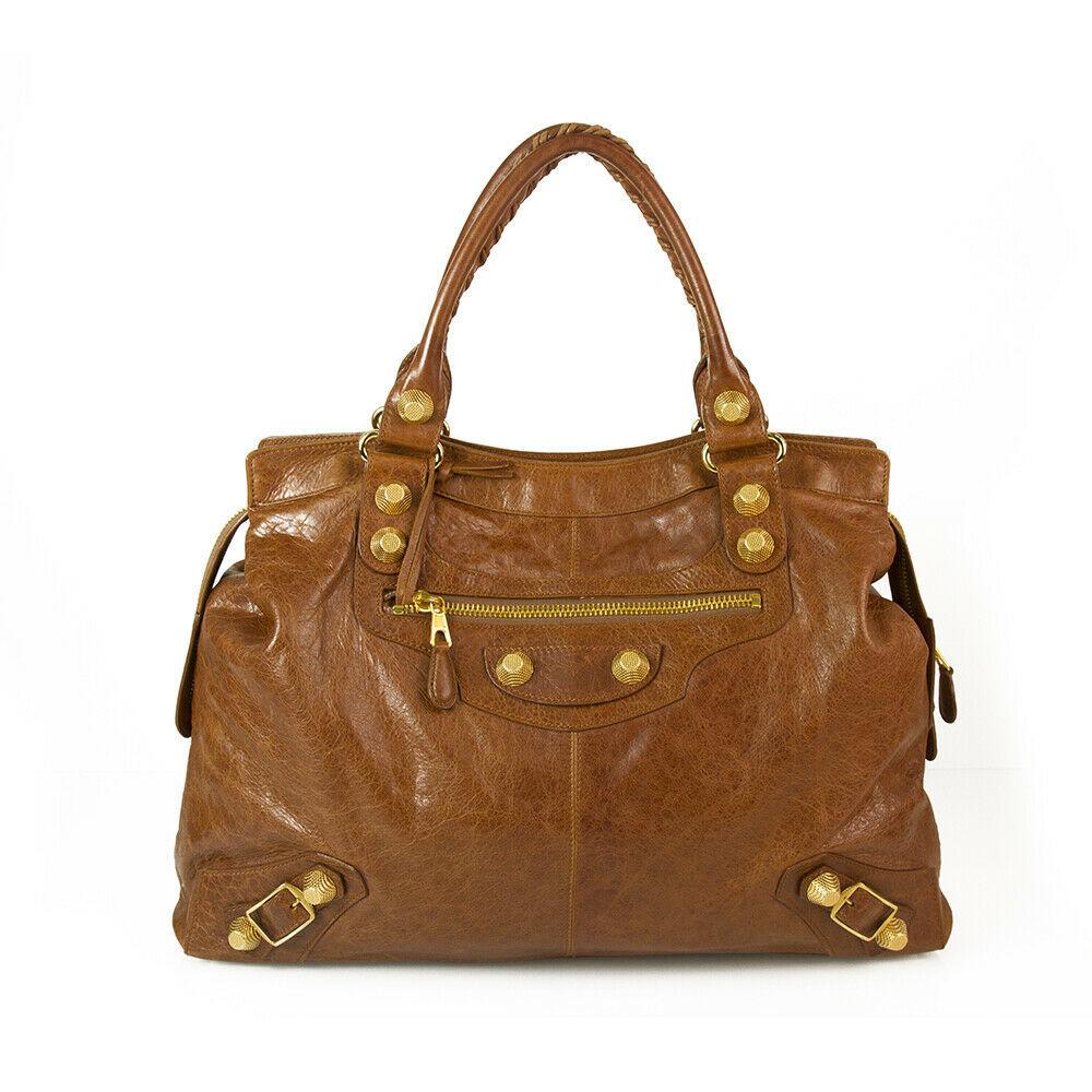 BALENCIAGA Tan Brown Leather Giant 21 Gold Weekender Bag retailed at $2,385