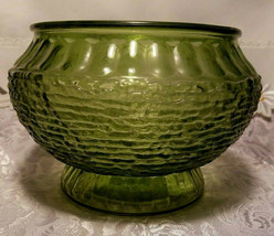 """Vintage NAPCO Cleveland OH Forest Green Rippled Glass Vase / Bowl 5 1/4""""T x 8""""W image 2"""