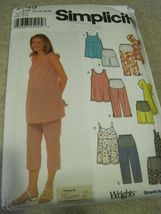 Simplicity 9749 Maternity Tops Capri Pants or Shorts sz 12-18 uncut - $5.50