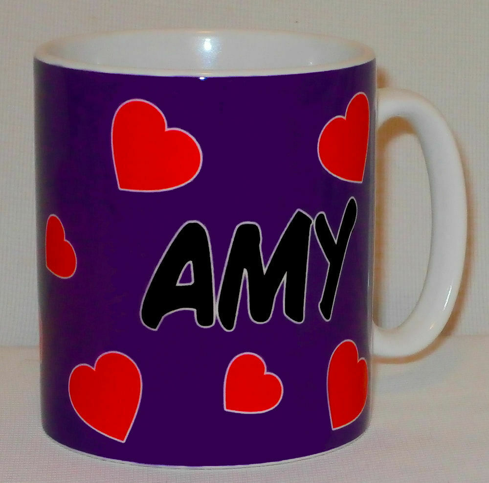 Primary image for PERSONALISED Hearts Mug ANY NAME Great Cute Love Boy Girl Friend Valentines Gift