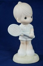 Precious Moments Serving The Lord Figurine 100293 Boy Tennis Player 1985... - $9.28