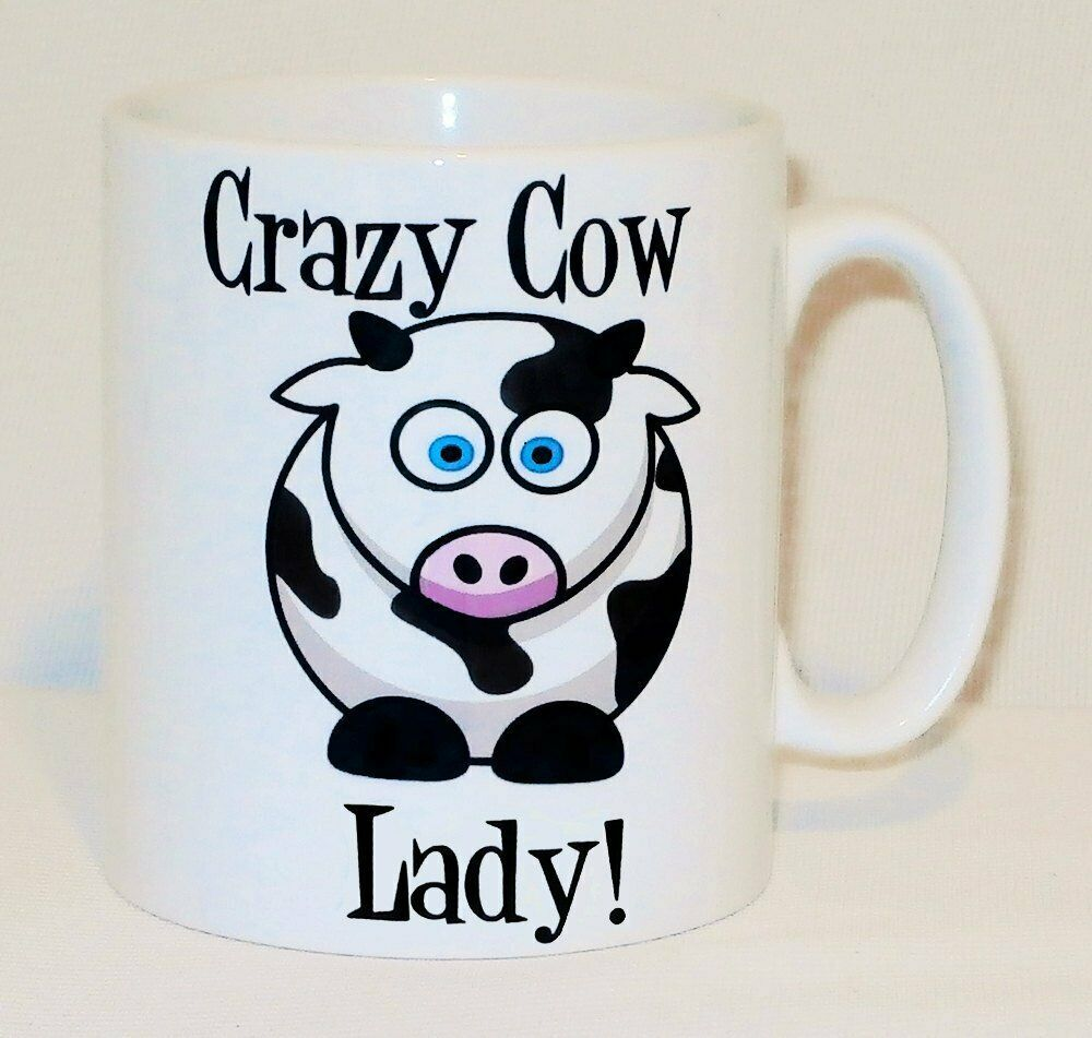 Crazy Cow Lady Mug Can Personalise Funny Animal Lover Farmer Obsessive OCD Gift