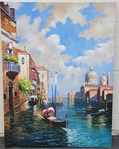 Beautiful Original Oil on Canvas Painting - Larger Size - Canals of Veni... - $485.09