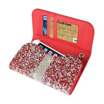 Diamond Bling Credit Card Red Wallet fits LG Tribute Dynasty (Sprint) - $19.79
