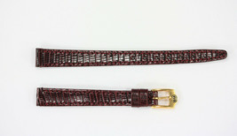 Ladies Gucci 10mm Genuine Burgundy Leather Watch Band Lizard Grain With 2 Pins - $89.95