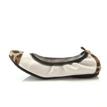Simply Vera Wang Ballet Flats Shoes Womens 7 White Leopard Print Toe Heel - $12.74