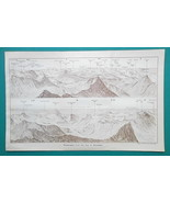 1897 BAEDEKER MAP - WALES Panoramic View from Snowdon Mountain - $8.96