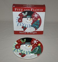Fitz and Floyd Merry & Bright Snowman Round Christmas Canape Plate in Bo... - $12.82